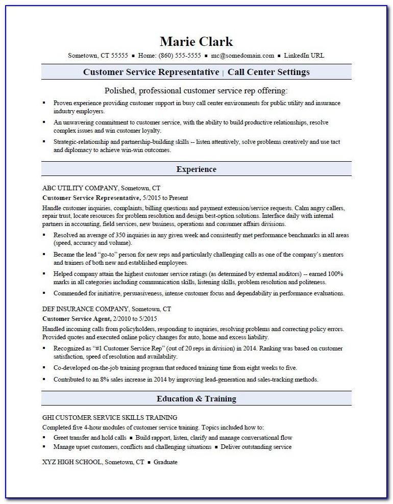 Free Resume Templates For Customer Service Representative