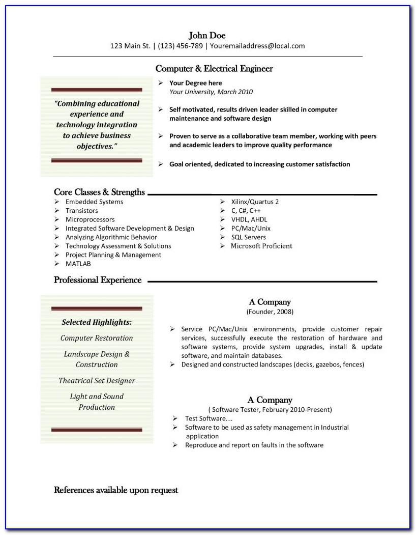 Free Resume Templates For Macbook