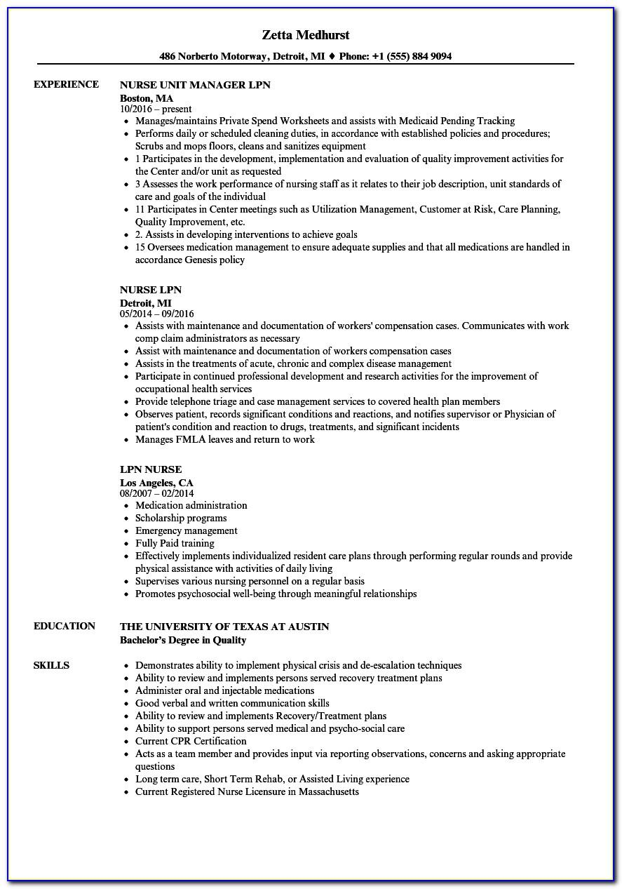 Free Resume Templates For Nurses Downloads