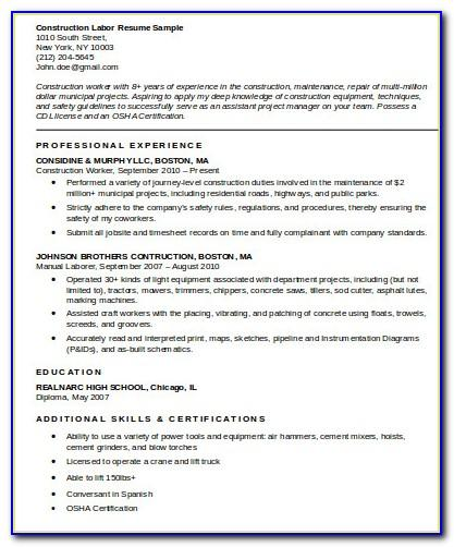 Free Sample Resume Construction Worker