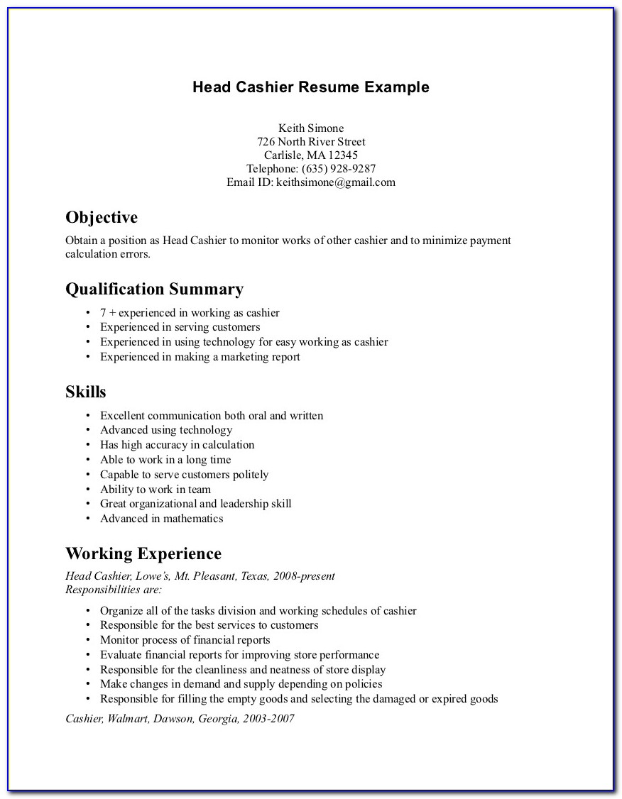 Free Sample Resume For Cashier Position