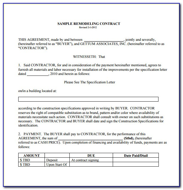 General Contractor Contract Template Free
