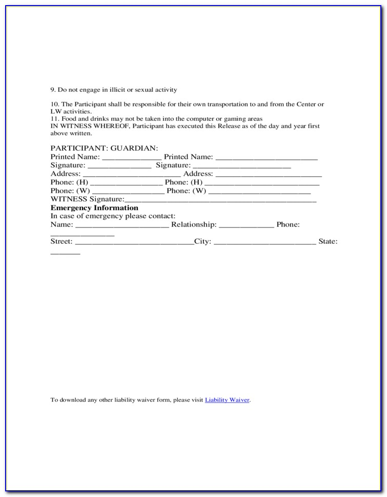 General Release Of Liability Waiver Template
