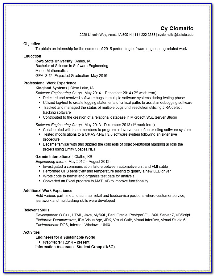 Good Resume For Engineering Internship