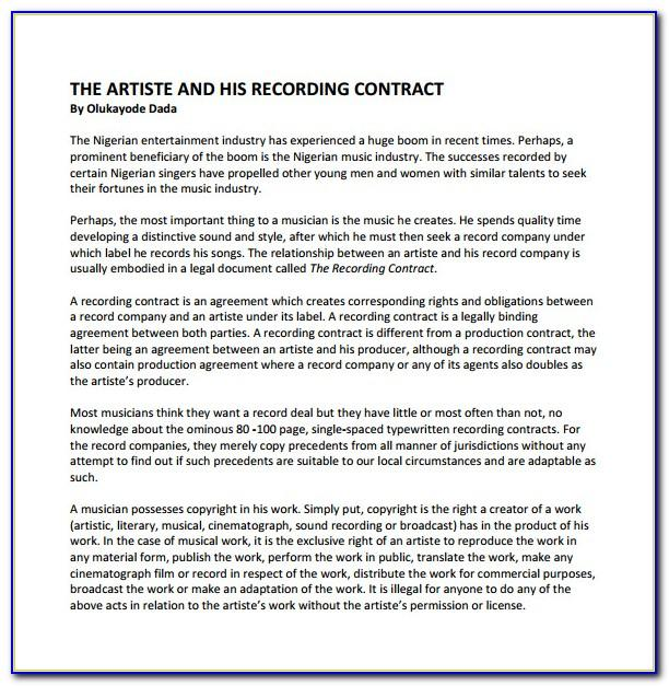 Indie Record Label Contract Template