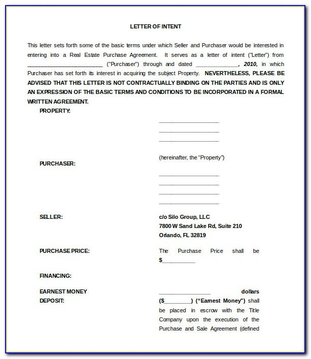 Letter Of Intent To Sell Real Estate Template