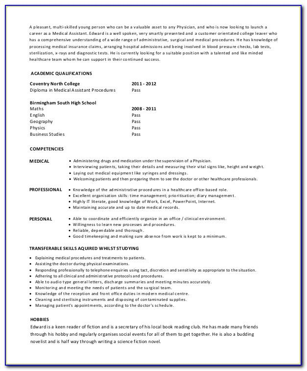 Medical Assistant Resume Templates For Microsoft Word