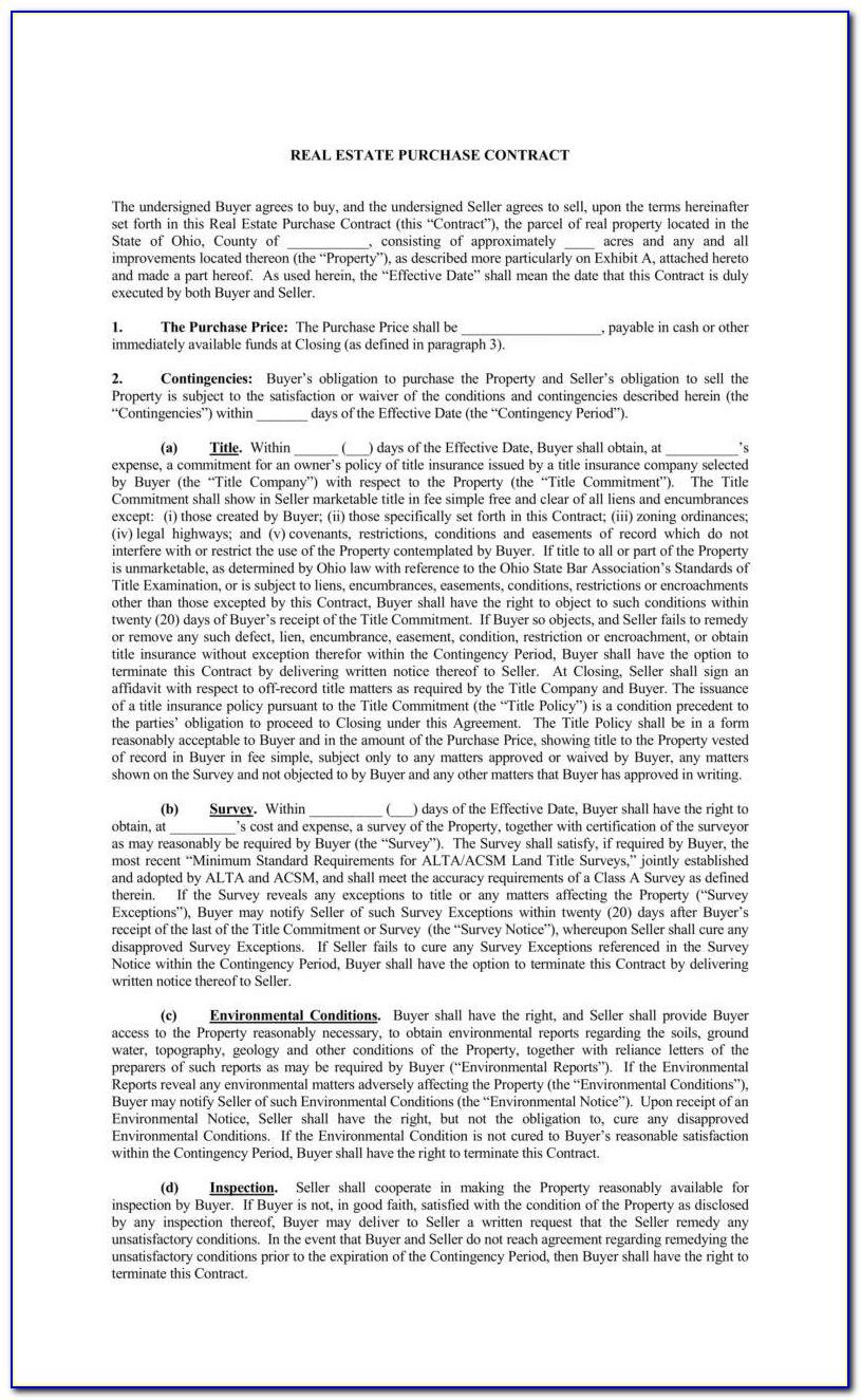 Michigan Real Estate Purchase Agreement Form Free