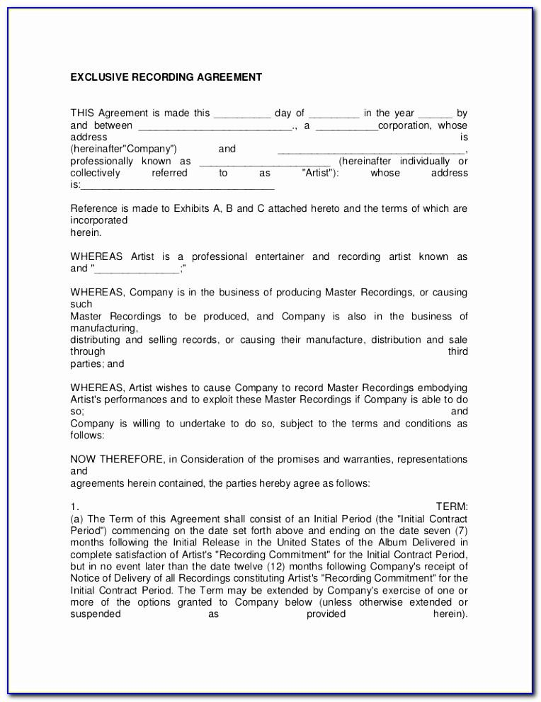 Music Recording Studio Contract Template