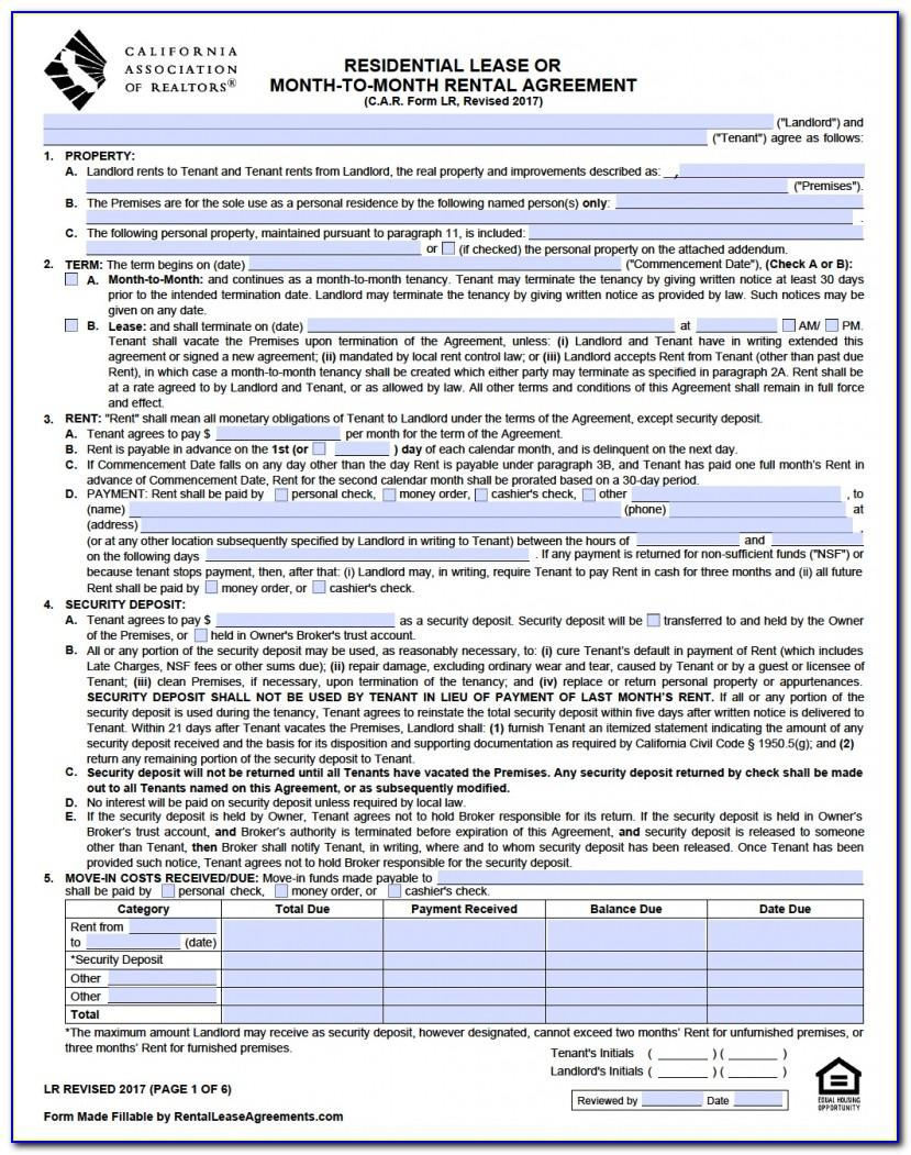 Nevada Residential Lease Agreement Free Form