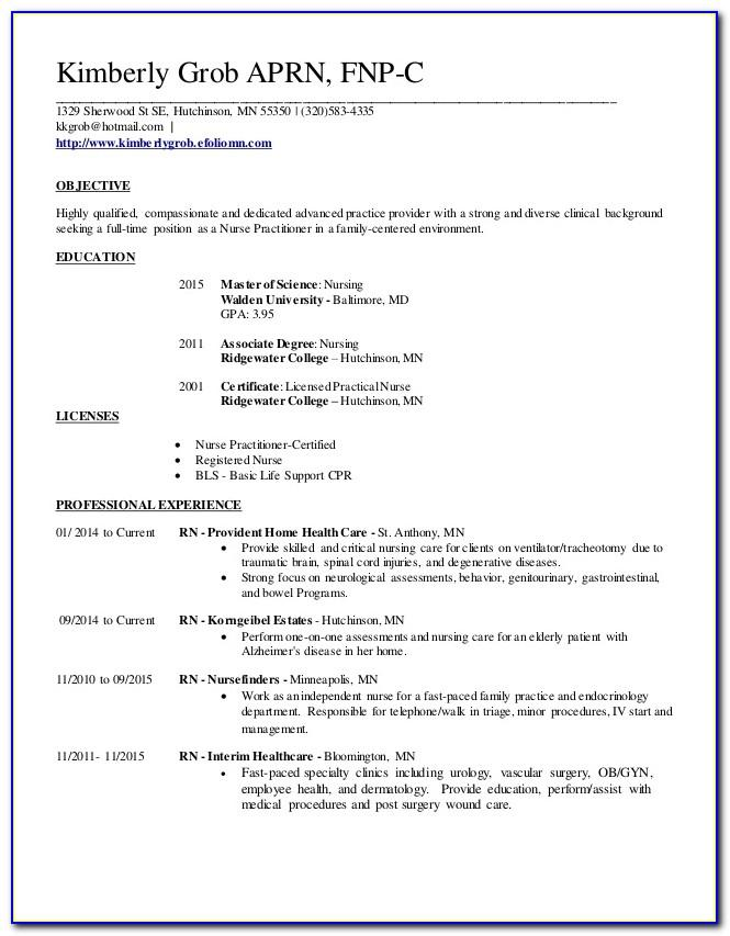 New Graduate Nurse Practitioner Resume Example