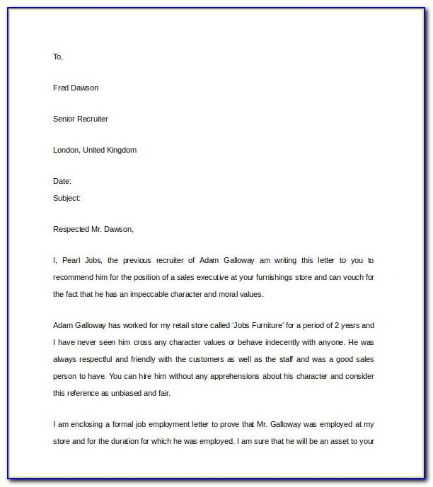 Professional Reference Letter Template Free