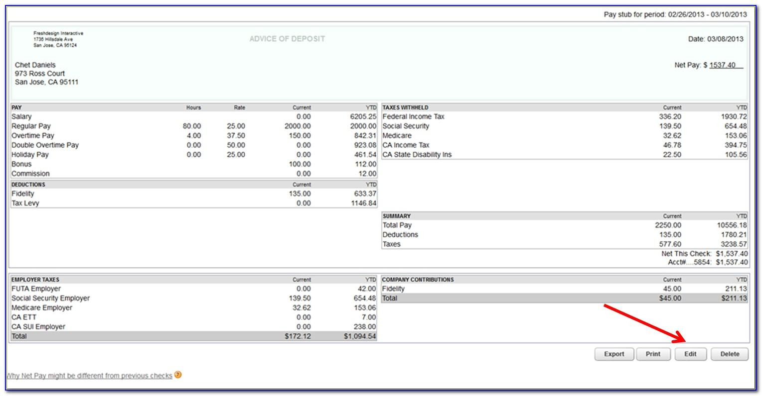Quickbooks Pay Stub Template Excel