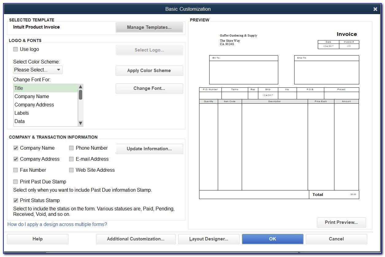 Quickbooks Pro 2013 Invoice Templates