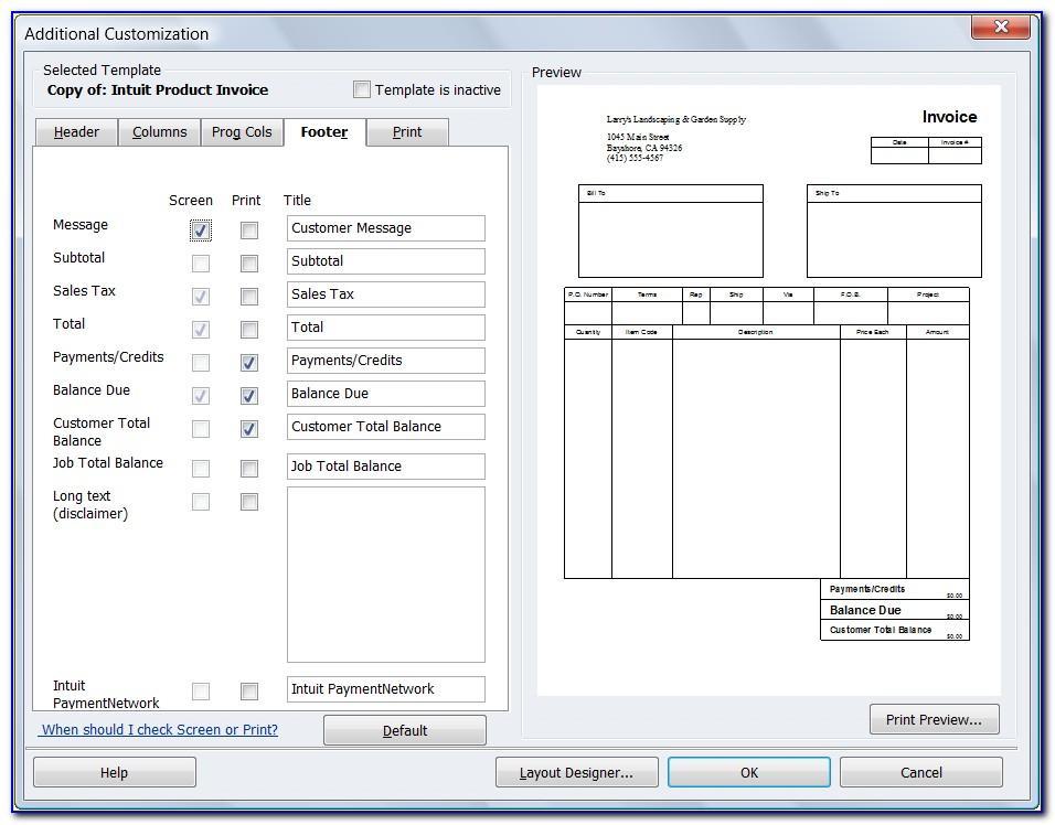 Quickbooks Pro 2015 Invoice Templates