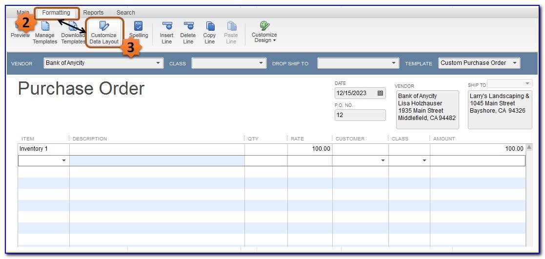 Quickbooks Sales Order Template