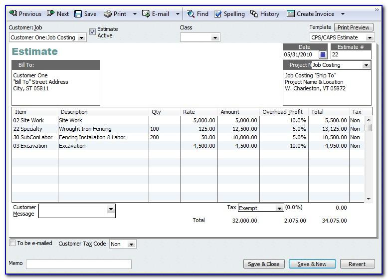 Quickbooks Use Estimate Template For Invoice