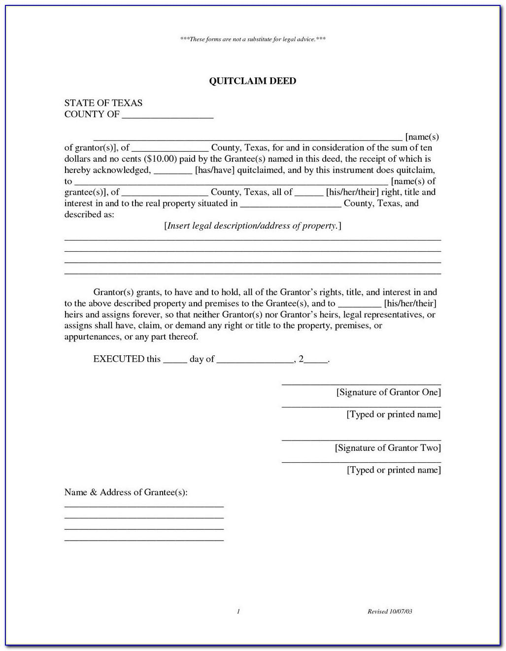 Quit Claim Deed Form Collin County Texas