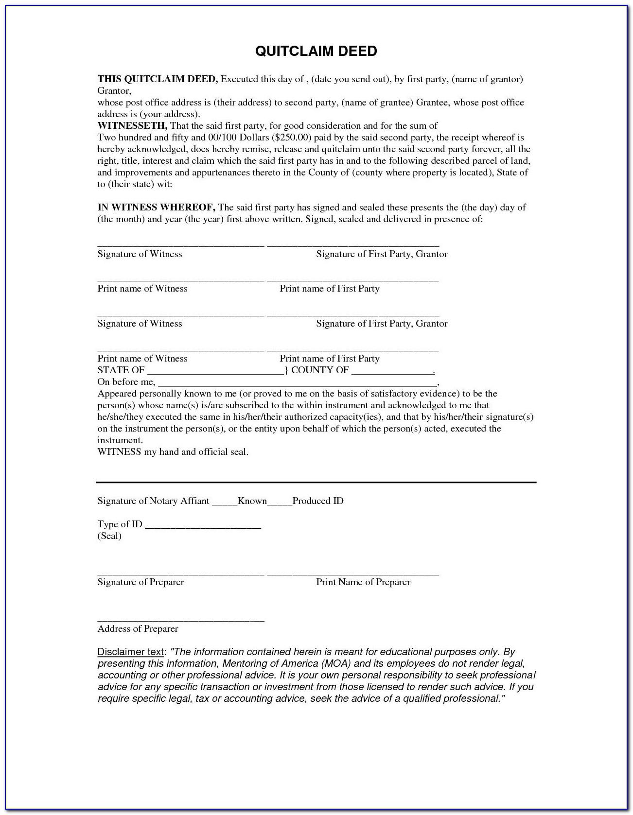 Quit Claim Deed Form Florida Timeshare