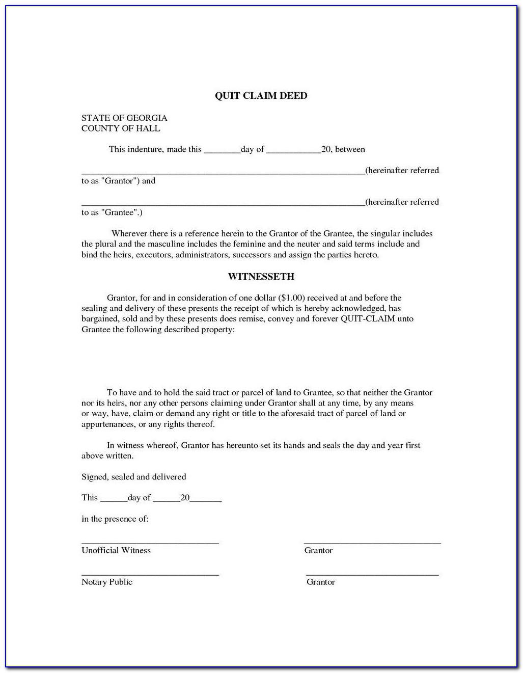 Quit Claim Deed Form Free Download Uk