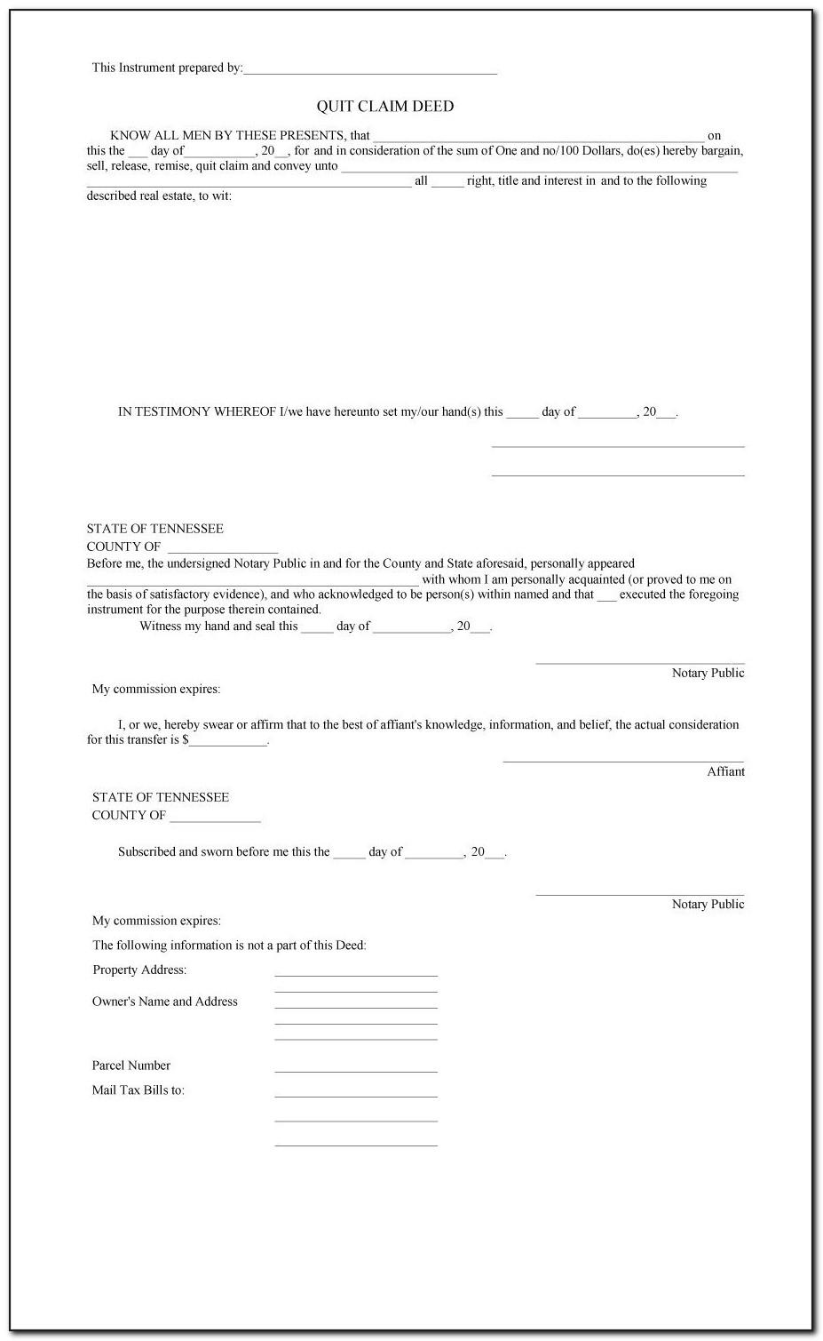 Quit Claim Deed Sample Letter