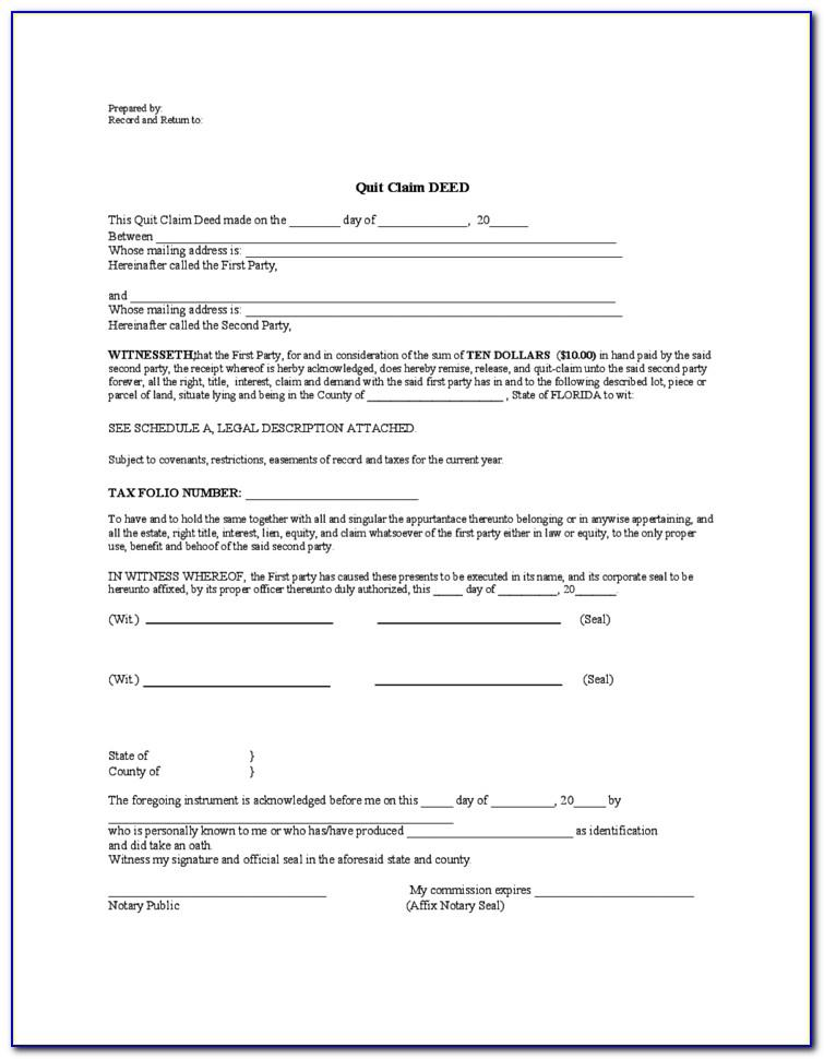 Quit Claim Deed Template Free Download