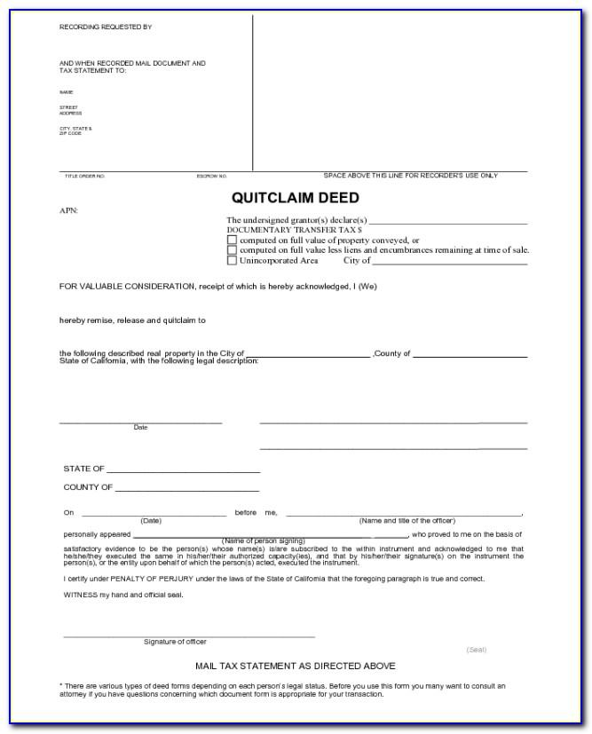 Quit Claim Deed Template Free