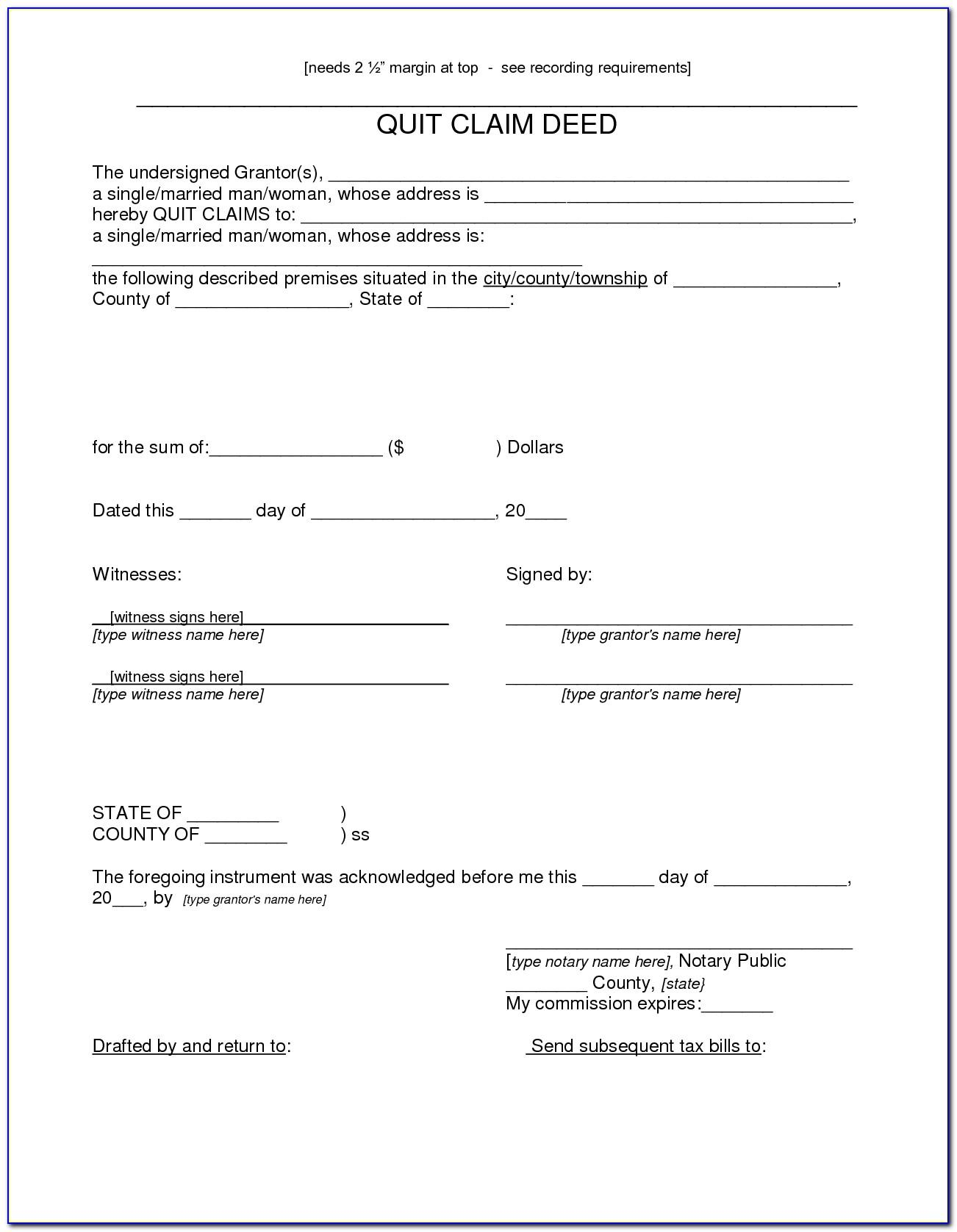 Quit Claim Deed Template Texas