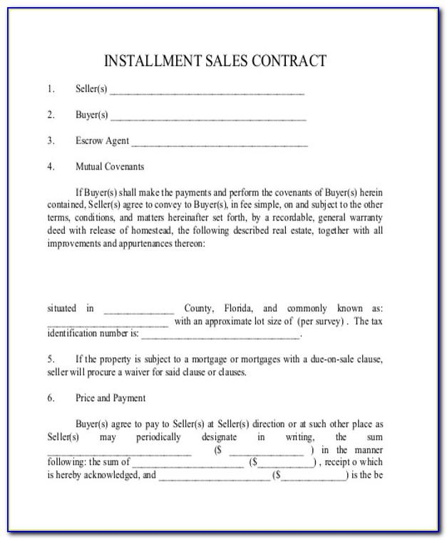 Real Estate Installment Sale Contract Form