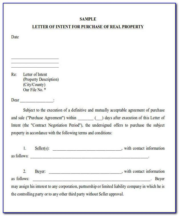 Real Estate Lease Letter Of Intent Template