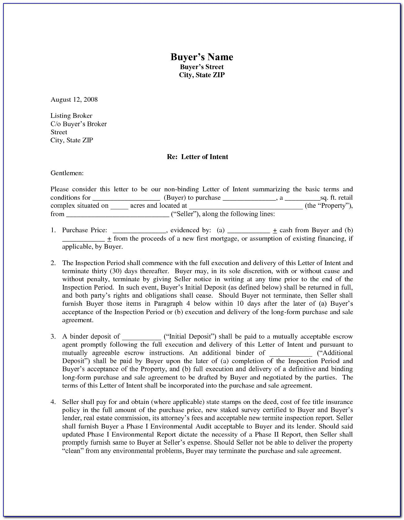 Real Estate Letter Of Intent Template Free