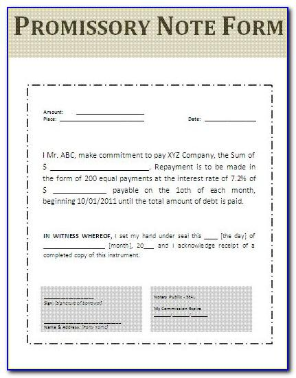Real Estate Promissory Note Form