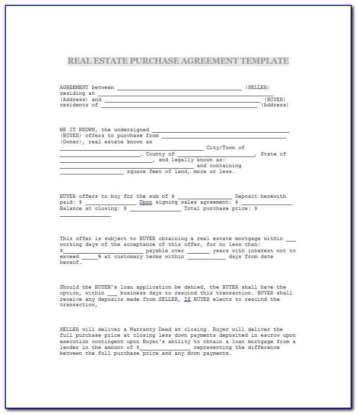 Real Estate Purchase Agreement Indiana
