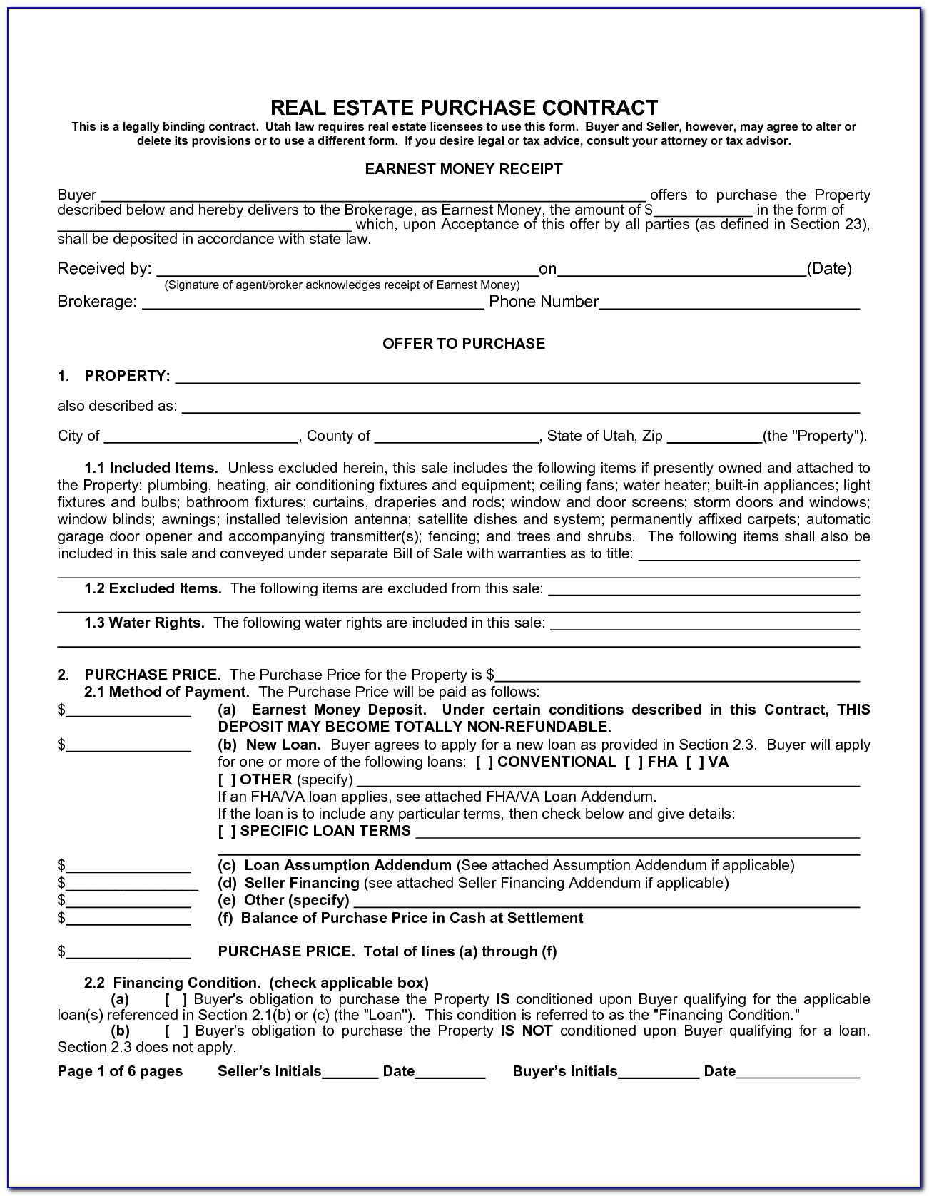 Real Estate Purchase Agreement Template California