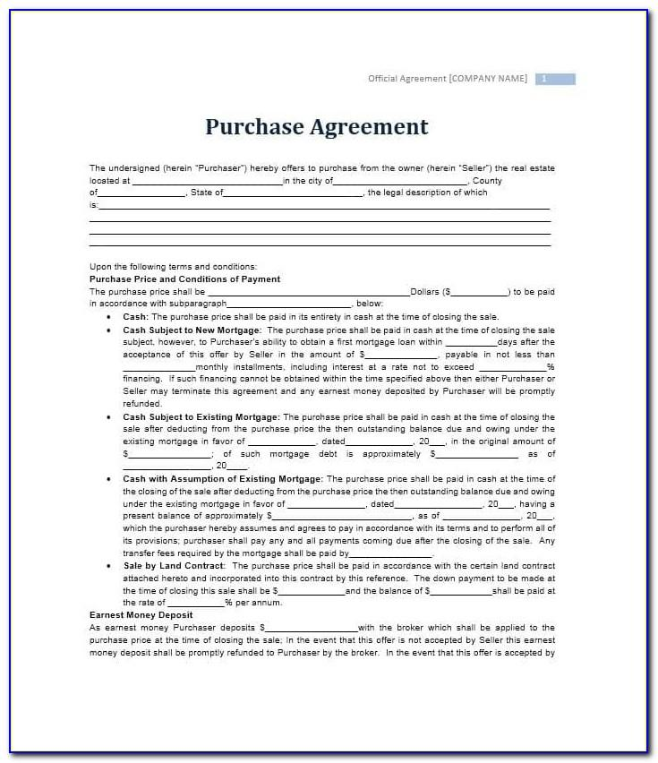 Real Estate Purchase Agreement Template Minnesota