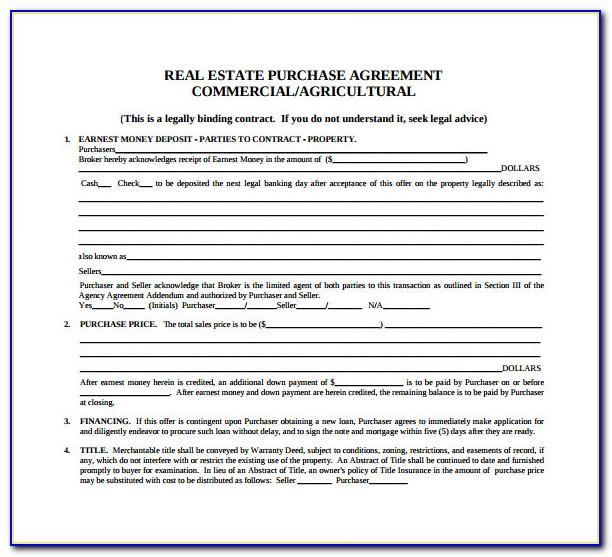 Real Estate Purchase Contract Agreement