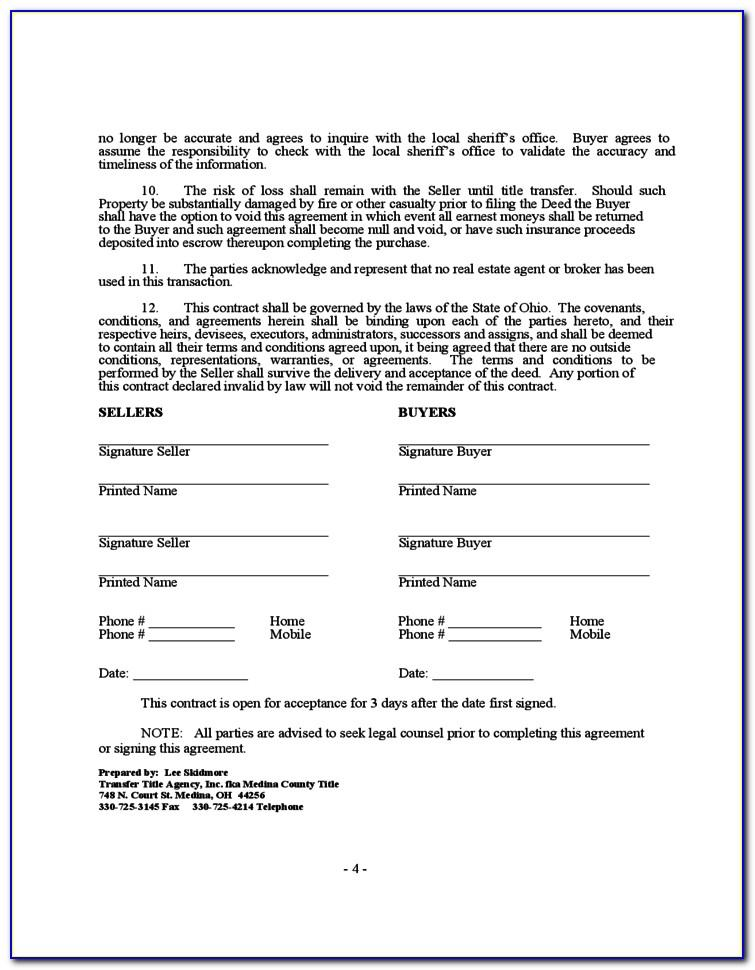Real Estate Purchase Contract Example
