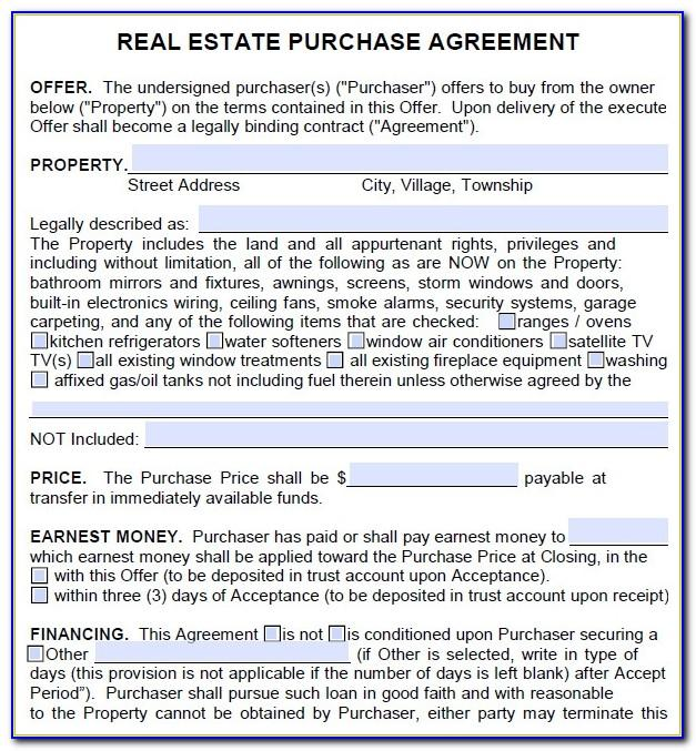 Real Estate Purchase Offer Form Free