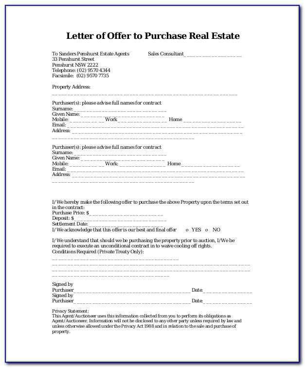 Real Estate Purchase Offer Template