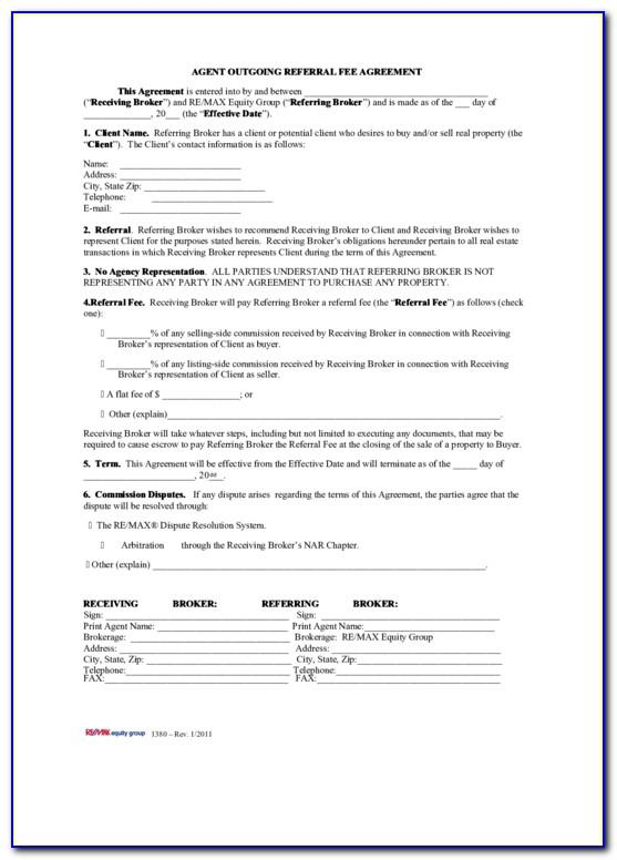 Real Estate Referral Fee Agreement Sample