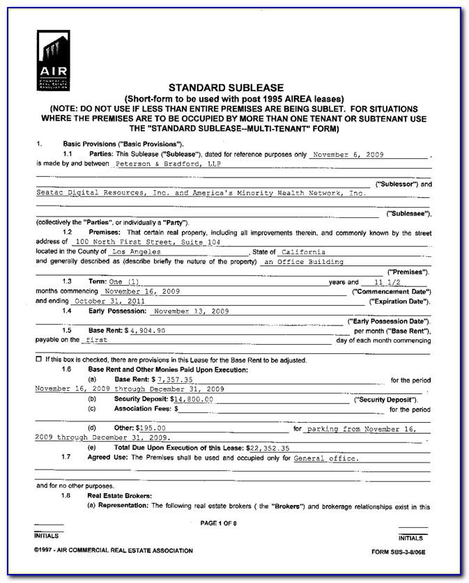 Real Estate Rental Agreement Forms Free