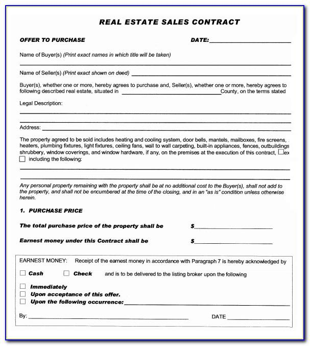Real Estate Sale Contract Form