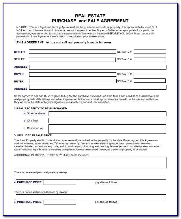 Real Estate Sale Contract Template
