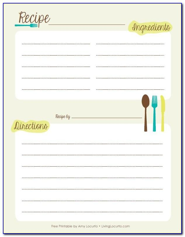 Recipe Book Template For Pages