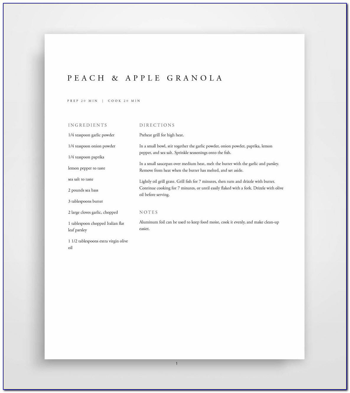Recipe Template For Mac Free