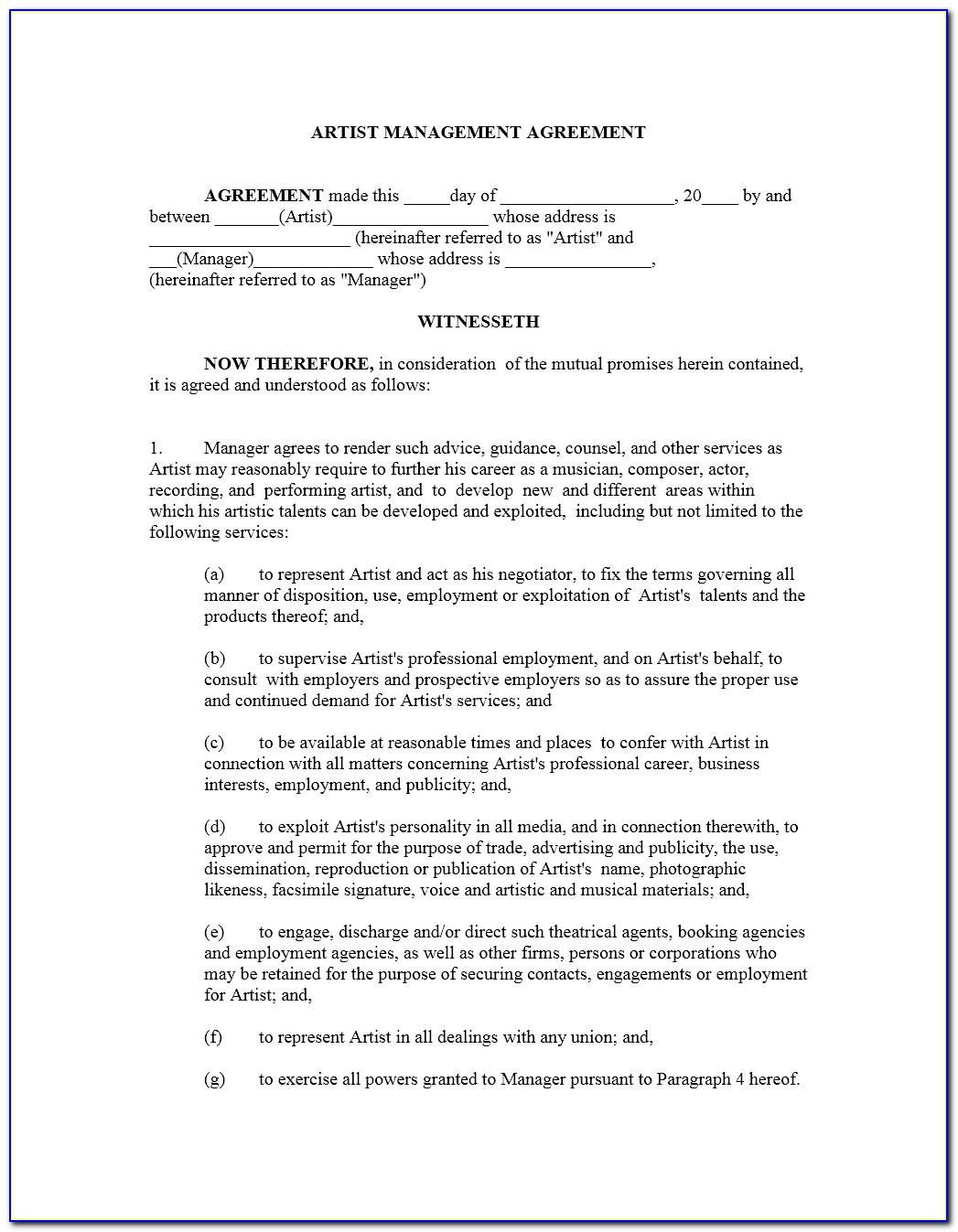 Record Label Artist Contract Template Pdf