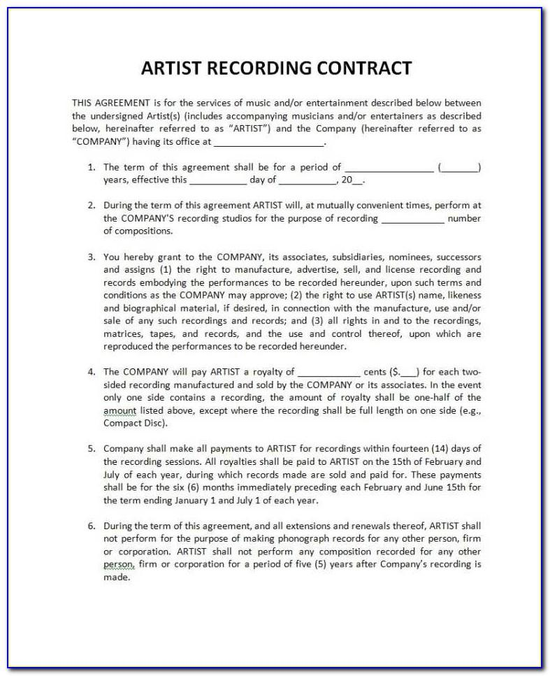 Record Label Artist Contract Template