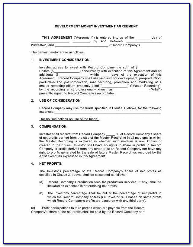 Record Label Contract Template Pdf