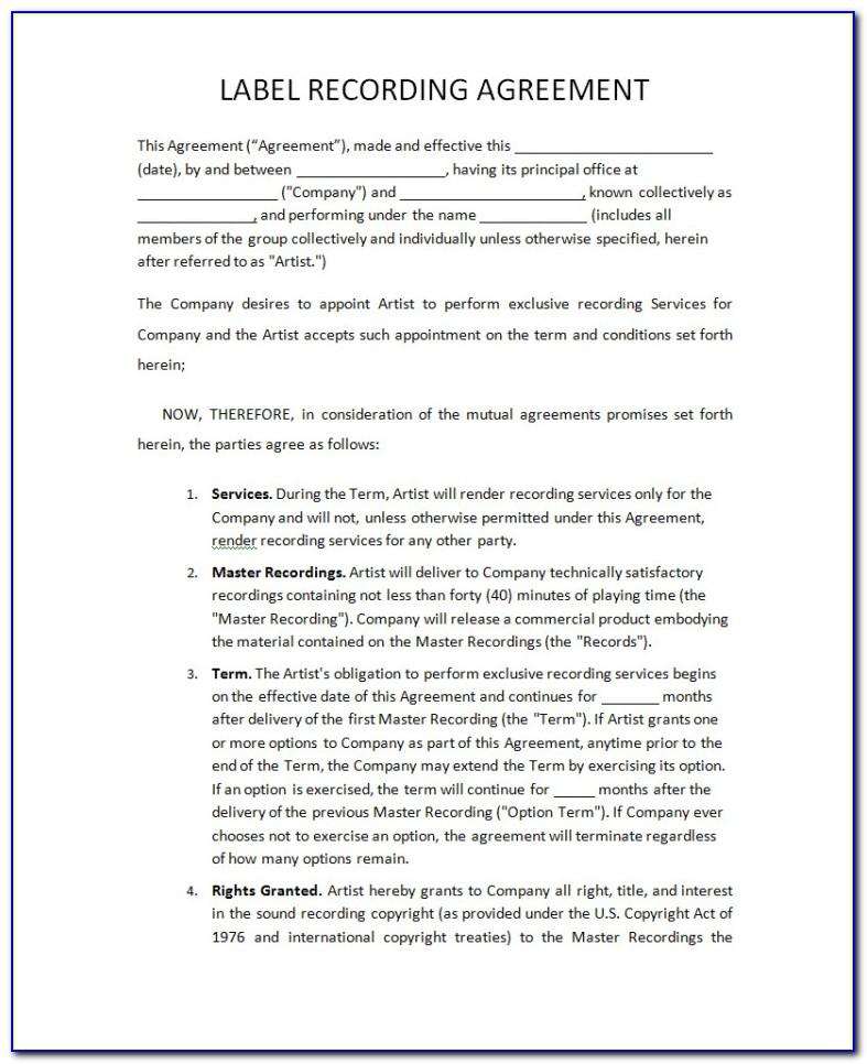 Record Label Contracts Templates Free