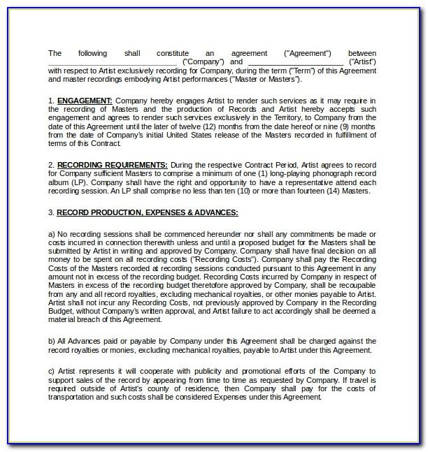 Recording Studio Service Agreement Template